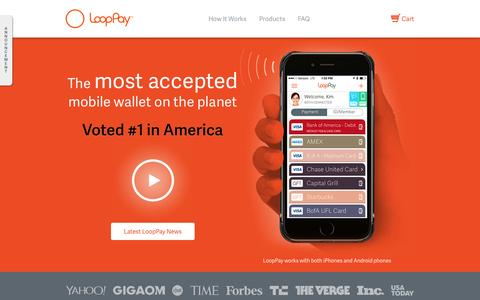 Screenshot of Home Page looppay.com - Pay with your Phone - Faster, Safer, Smarter - captured June 16, 2015