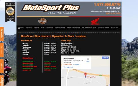 Screenshot of Hours Page motosportplus.com - Hours and Location | MotoSport Plus | Kingston Ontario - captured Dec. 22, 2016