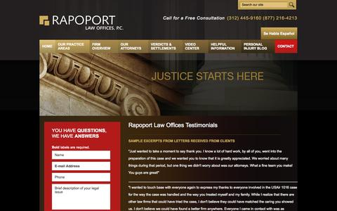 Screenshot of Testimonials Page rapoportlaw.com - Rapoport Law Offices Testimonials | Rapoport Law Offices, P.C. | Illinois - captured Oct. 9, 2014