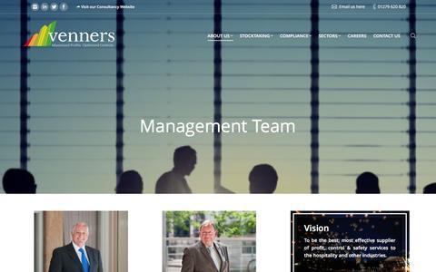 Screenshot of Team Page venners.com - Management Team - Venners Stocktakers - captured Jan. 10, 2016