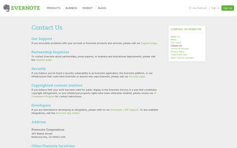 Screenshot of Contact Page evernote.com - Contact Us | Evernote - captured July 20, 2014