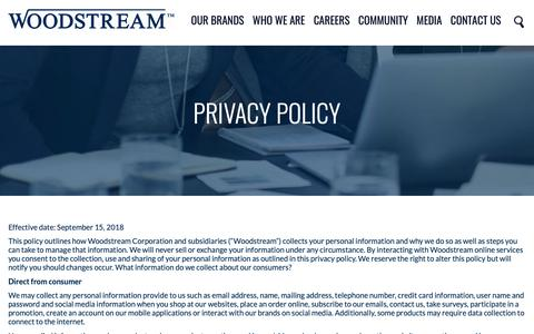 Screenshot of Privacy Page woodstream.com - Privacy and Cookie Policy - captured Nov. 7, 2018