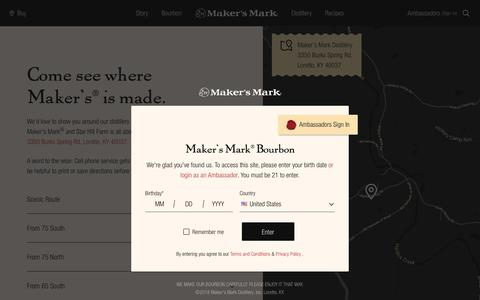 Screenshot of Maps & Directions Page makersmark.com - Maker's Mark Distillery Directions | Loretto, KY - captured Oct. 13, 2018