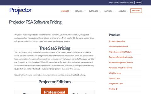 Screenshot of Pricing Page projectorpsa.com - Projector PSA Software Pricing, Editions and Subscription Details - captured Sept. 16, 2019
