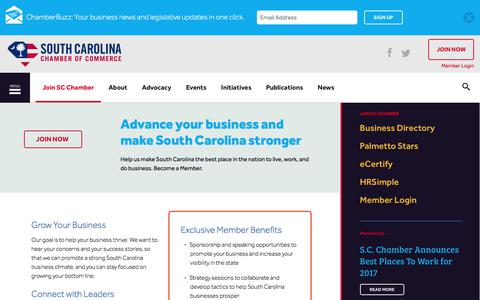 Screenshot of Signup Page scchamber.net - Join SC Chamber | South Carolina Chamber of Commerce - captured Oct. 23, 2017