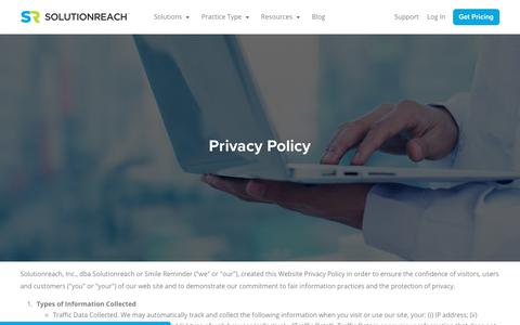Screenshot of Privacy Page solutionreach.com - Privacy Policy | Solutionreach - captured April 20, 2018