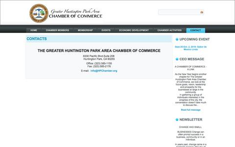 Screenshot of Contact Page Locations Page hpchamber.org - The Greater Huntington Park Area Chamber of Commerce - Contact - The Greater Huntington Park Area Chamber of Commerce - captured June 27, 2016