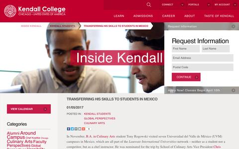 Screenshot of Blog kendall.edu - Transferring His Skills to Students in Mexico - Kendall College - captured Feb. 5, 2017