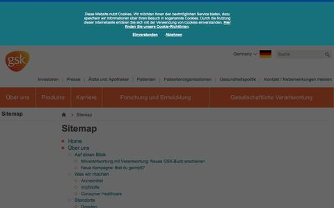 Screenshot of Site Map Page gsk.com - Sitemap | GSK Deutschland - captured Dec. 29, 2016