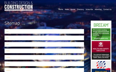 Screenshot of Site Map Page bdcmagazine.co.uk - Building Design & Construction Magazine | Sitemap - captured Oct. 3, 2014