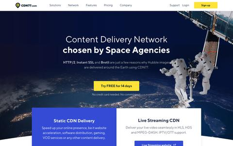 Screenshot of Home Page cdn77.com - Content Delivery Network (CDN) Used By Space Agencies - captured June 29, 2018