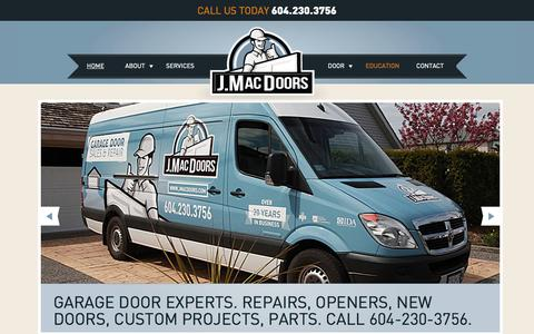 Screenshot of Home Page jmacdoors.com - Garage Doors | Garage Repair Experts Vancouver & Richmond - captured Jan. 27, 2015