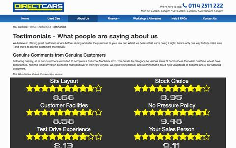 Screenshot of Testimonials Page directcars.co.uk - Testimonials - Direct Cars, Used Car Supermarket - captured Sept. 25, 2014