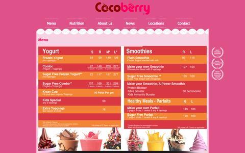 Screenshot of Menu Page cocoberry.co.in - Cocoberry Restaurants & Distributors Pvt. Ltd. - captured Sept. 30, 2014