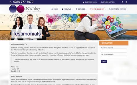 Screenshot of Testimonials Page townley.co.uk - Testimonials | Townley Network Solutions - captured Feb. 25, 2016