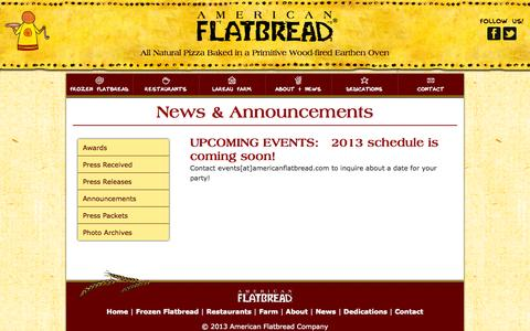 Screenshot of Press Page americanflatbread.com - American Flatbread   » News & Announcements - captured Sept. 30, 2014