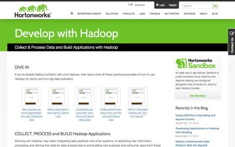 Screenshot of Developers Page hortonworks.com - Develop with Hadoop: Resources and Tutorials - captured Sept. 16, 2014