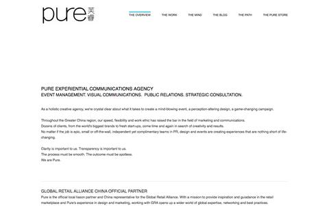 Screenshot of Home Page pure-sh.com - Pure Experiential Communications Agency  - THE OVERVIEW - captured Nov. 15, 2016