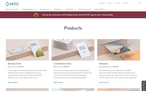 Screenshot of Products Page moo.com - MOO Products | Printing, Customization & More | MOO US - captured Dec. 19, 2018