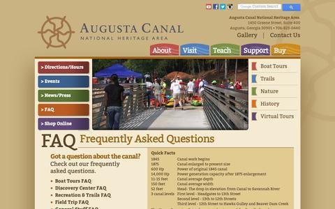 Screenshot of FAQ Page augustacanal.com - Augusta Canal - FAQ - captured Oct. 4, 2018