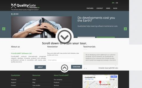Screenshot of Home Page quality-gate.com - QualityGate - The ultimate software quality management solution - captured Jan. 22, 2017