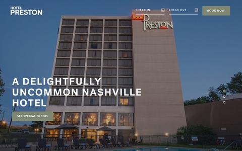 Screenshot of Home Page hotelpreston.com - Affordable Boutique Hotel Near Downtown Nashville | Hotel Preston - captured July 23, 2018