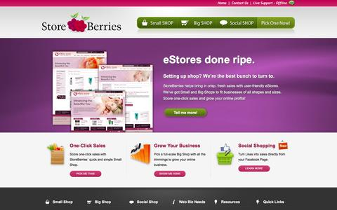 Screenshot of Home Page storeberries.com - StoreBerries - eStores, e-commerce Solutions for Online Businesses - captured March 4, 2016