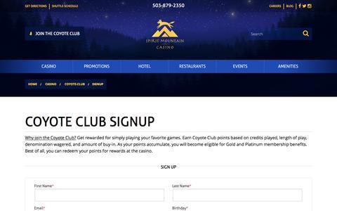 Screenshot of Signup Page spiritmountain.com - Coyote Club Signup | Spirit Mountain Casino | Spirit Mountain Casino - captured June 3, 2018