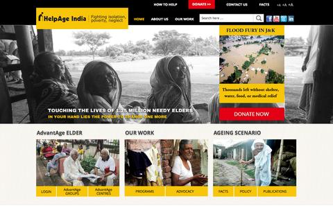 Screenshot of Home Page helpageindia.org - HelpAge India - NGO for Elderly Care and Support in India - captured Sept. 24, 2014