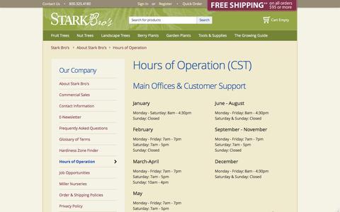 Screenshot of Hours Page starkbros.com - Hours of Operation - Stark Bro's - captured Feb. 12, 2016