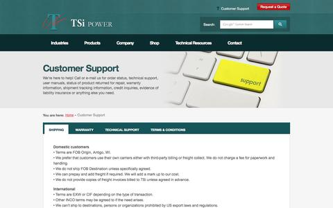 Screenshot of Support Page Terms Page tsipower.com - Customer Support   TSi Power   Technical Support - captured Oct. 25, 2014