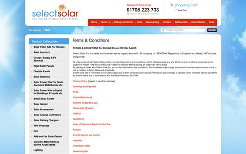 Screenshot of Terms Page selectsolar.co.uk - Terms & Conditions for business and retail sales at Select Solar Ltd - captured Oct. 1, 2018