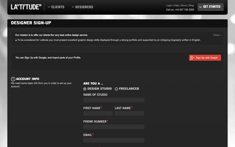 Screenshot of Signup Page latitu.de - Designer Sign Up on Latitude Online Design Service - captured Oct. 1, 2014