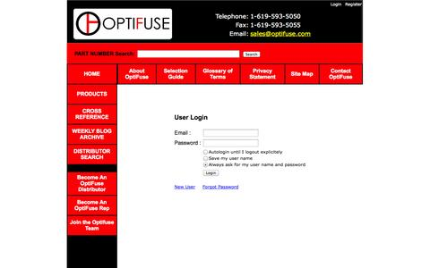 Screenshot of Login Page optifuse.com - Optifuse for fuses, fuseholders, fuseclips, and more - captured Sept. 26, 2014
