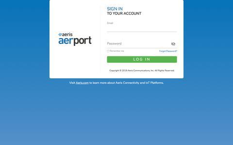 Screenshot of Login Page aeris.com - Log in to Aeris AerPort - captured Aug. 31, 2019