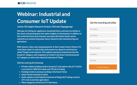 Screenshot of Landing Page cbinsights.com - Internet of Things: Consumer and Industrial Update - captured Oct. 12, 2016