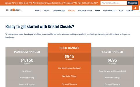Screenshot of Pricing Page kristelclosets.com - Gift Certificate Personal Shopping - Kristel Closets - captured Feb. 12, 2016