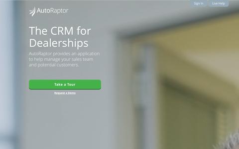 Screenshot of Home Page autoraptor.com - AutoRaptor – Automotive Lead Management ILM and CRM - captured Sept. 25, 2014