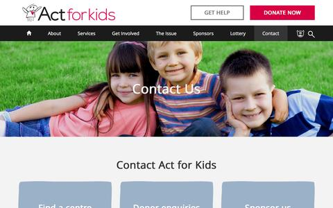 Screenshot of Contact Page actforkids.com.au - Contact Us - Act For Kids - Preventing and treating child abuse and neglect - captured May 29, 2017