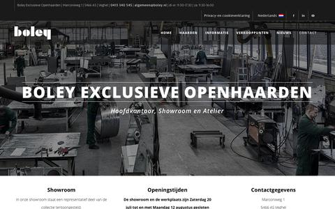 Screenshot of Contact Page boley.nl - Contact, vragen of interesse? | Boley Exclusieve Openhaarden - captured Aug. 6, 2019