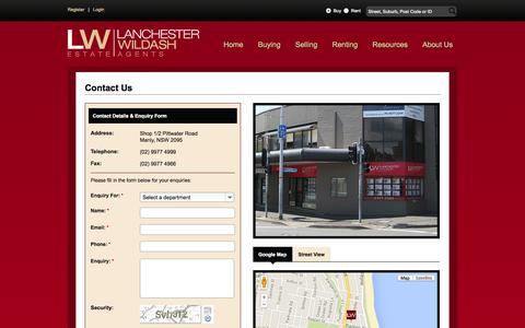 Screenshot of Contact Page lwea.com.au - Lanchester Wildash -  specialises in real estate in New South Wales (NSW) and Northern Beaches - Contact Us - captured Oct. 1, 2014