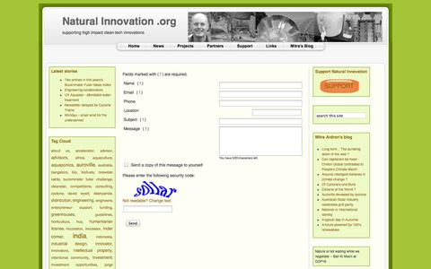 Screenshot of Contact Page naturalinnovation.org - Contact Us - captured Oct. 27, 2014