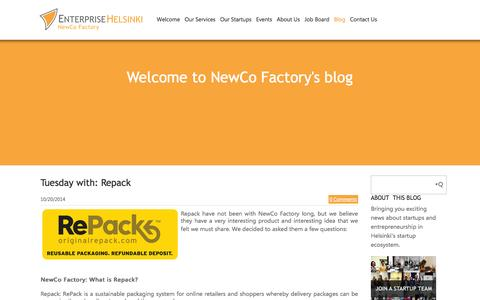 Screenshot of Blog newcofactory.fi - NewCo Factory - Let us know your thoughs - captured Nov. 2, 2014