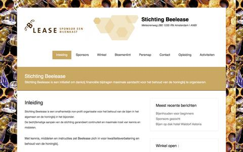 Screenshot of Menu Page beelease.nl - Stichting Beelease | Meteorenweg 280 1035 RN Amsterdam       |    ANBI - captured Dec. 31, 2015