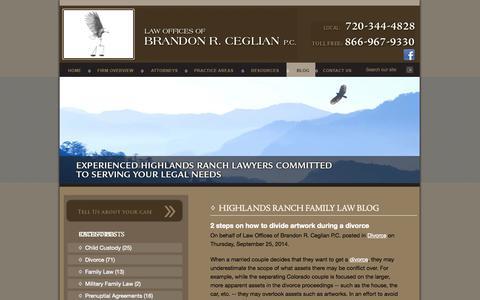 Screenshot of Blog ceglianlaw.com - Highlands Ranch Family Law Blog   Law Offices of Brandon R. Ceglian P.C. - captured Oct. 2, 2014