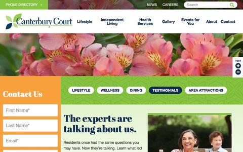 Screenshot of Testimonials Page canterburycourt.org - Resident Testimonials | Canterbury Court - captured May 14, 2017