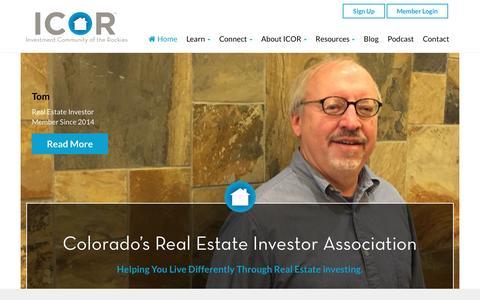 Screenshot of Home Page icorockies.com - ICOR: Colorado's Premier Real Estate Investors Association - captured Nov. 17, 2016