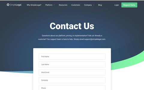 Screenshot of Contact Page simplelegal.com - Contact Us | SimpleLegal - captured Feb. 5, 2019