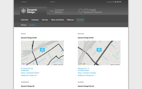 Screenshot of Locations Page dynamic-design.com - Dynamic Design   Efficiency Tools for Engineers - captured Feb. 9, 2016