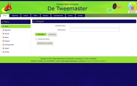 Screenshot of Login Page de-tweemaster.nl - Inloggen - captured May 28, 2016